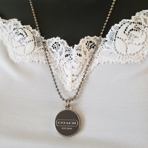 Coach Necklace Custom Medallion Pendant Silver